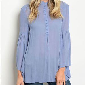 Bell Sleeve Flowy Blue Button Up Blouse